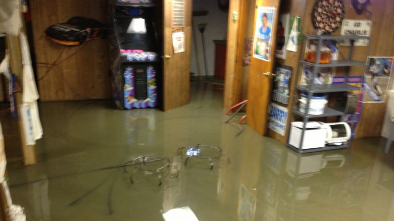Flooded residential basement
