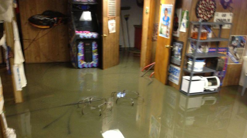 Flooded residential basement